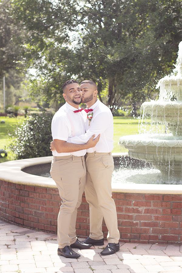 same sex couple grooms wedding styled session lake mary central park
