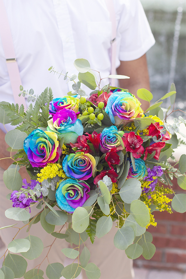 same sex couple wedding session lake mary central park rainbow pride bouquet